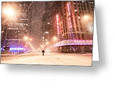 New York City - Snow And Empty Streets - Radio City Music Hall Greeting Card