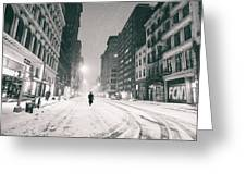 New York City - Snow - Empty Streets At Night Greeting Card