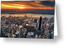 New York City Sunset Panorama Greeting Card