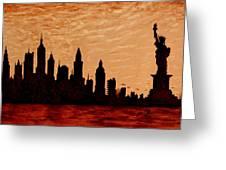 New York City Sunset Silhouette Greeting Card