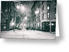 New York City - Winter Night In The West Village Greeting Card