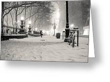 New York City Winter Night Greeting Card by Vivienne Gucwa