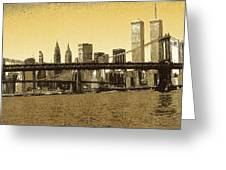 New York Downtown Manhattan Skyline - Yellow Panorama Greeting Card