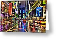 New York Lights In Rain Greeting Card
