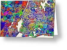 New York Map Abstract 2 Greeting Card