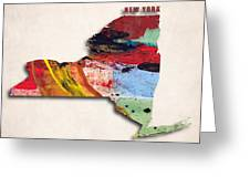 New York Map Art - Painted Map Of New York Greeting Card