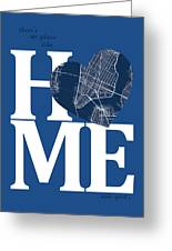 New York Map Home Heart - New York City New Yorkroad Map In A He Greeting Card