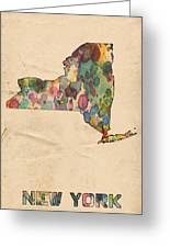 New York Map Vintage Watercolor Greeting Card