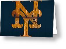 New York Mets Baseball Vintage Logo License Plate Art Greeting Card