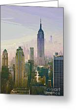 New York Misty Morning Greeting Card