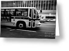 New York Mta City Bus Speeding Along 34th Street Usa Greeting Card by Joe Fox