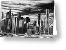 New York Pano Bw I Greeting Card