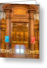 New York Public Library Main Reading Room Entrance I Greeting Card