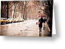 New York Rain - Greenwich Village Greeting Card