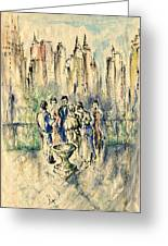 New York Roof Party - Watercolor Ink Greeting Card
