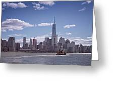 New York Skyline And Boat Greeting Card