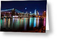 New York Skyline And Brooklyn Bridge With Crescent Moon Rising Greeting Card