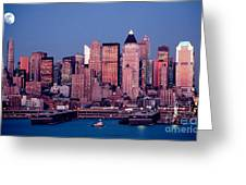New York Skyline At Dusk Greeting Card
