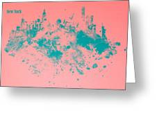 New York Skyline Paint Splash Greeting Card