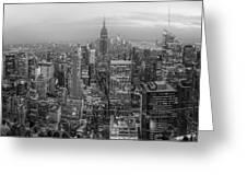 New York Skyline Panorama Bw Greeting Card