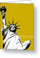 New York Skyline Statue Of Liberty - Gold Greeting Card by DB Artist