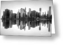 New York Skyline Sunset Bw Greeting Card
