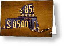 New York State License Plate Map - Empire State Orange Edition Greeting Card