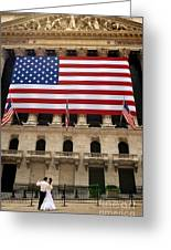 New York Stock Exchange Bride And Groom Dancing Greeting Card
