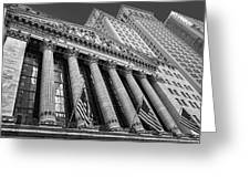 New York Stock Exchange Wall Street Nyse Bw Greeting Card