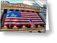 New York Stock Exchange With Us Flag Greeting Card