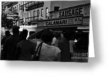 New York Street Fair - Black And White Greeting Card