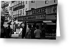 New York City Street Fair - Calamari Sausage - Black And White  Greeting Card