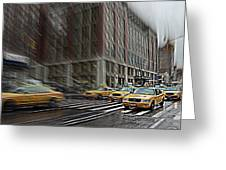 New York Taxi Abstract Greeting Card