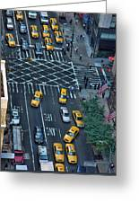 New York Taxi Rush Hour Greeting Card