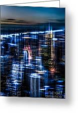 New York - The Night Awakes - Blue I Greeting Card