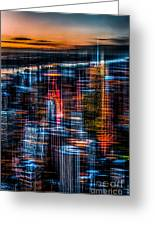New York- The Night Awakes - Orange Greeting Card by Hannes Cmarits