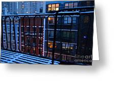 New York Window - Fire Escape In Winter Greeting Card