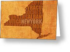New York Word Art State Map On Canvas Greeting Card