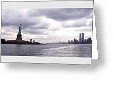 New York Harbor Panorama Twin Towers And Statue Greeting Card
