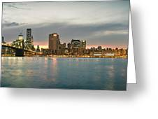 New York City - Brooklyn Bridge To Manhattan Bridge Panorama Greeting Card