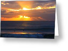 New Zealand Surfing Sunset Greeting Card