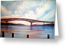 Newburgh Beacon Bridge Sky  Greeting Card