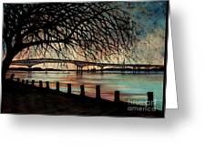 Newburgh Beacon Bridge Sunset Greeting Card by Janine Riley