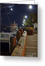 Newburyport Docks Full Moon Greeting Card