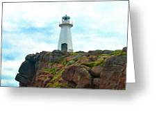 Lighthouse On Cliff Greeting Card