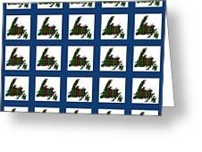 Newfoundland Tartan Map Blocks Blue Trim Greeting Card