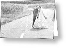 Newlyweds Walking Kissing Pencil Portrait Greeting Card