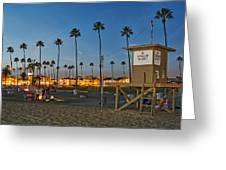 Newport Beach At Dusk Greeting Card by Kelley King