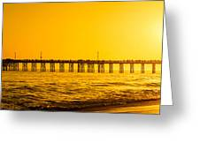 Newport Beach Pier Sunset Panoramic Photo Greeting Card