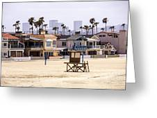 Newport Beach Skyline And Waterfront Luxury Homes Greeting Card